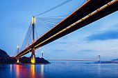 pic of hong kong bridge  - Suspension bridge in Hong Kong at night  - JPG