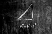 stock photo of pythagoras  - The Pythagorean Theorem written On A Blackboard - JPG