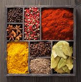 spices in box: pink and black pepper, paprika powder, curry, bay leaf; anise; clove; cumin