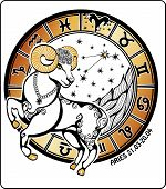 image of horoscope  - Aries and symbols of all zodiac signs in a Horoscope circle on a white background - JPG
