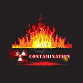 image of polution  - Nuclear Sign With Fire on the black background - JPG