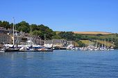 stock photo of dartmouth  - boats moored on the River Dart at Dartmouth