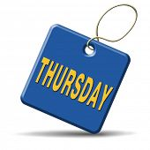 stock photo of thursday  - thursday week next or following day schedule concept for appointment or event in agenda - JPG