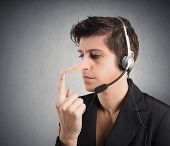 stock photo of cheating  - Concept of Customer Support liar with long nose - JPG