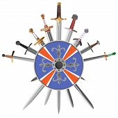 image of crossed swords  - Vector illustrations of swords cross crosswise with shield - JPG