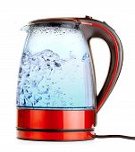 stock photo of kettling  - glass electric kettle with boiling water - JPG