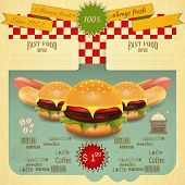 stock photo of hamburger  - Retro Fast Food Menu - JPG