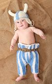 image of viking  - Little viking in homemade knitted costume - JPG