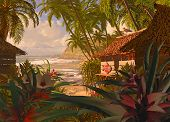 picture of beach hut  - A South Pacific coastline scene - JPG