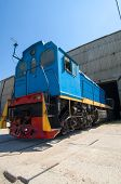 image of chug  - Photo blue color locomotive that leaves the garage production - JPG