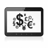 News concept: Finance Symbol on tablet pc computer