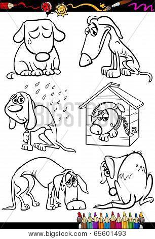 Sad Dogs Group Cartoon Coloring Book
