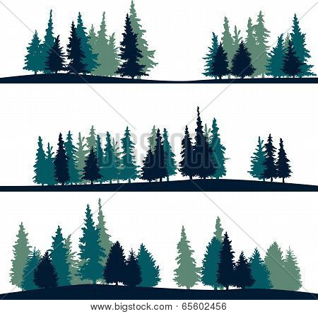 set of different landscape with fir-trees