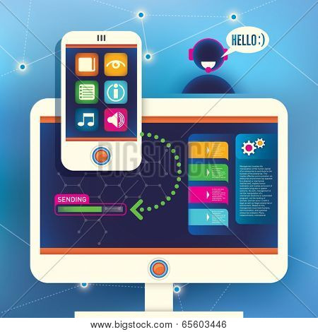 Technology background with smart phone and computer. Vector illustration.
