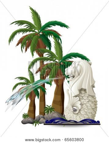 Illustration of the statue of Merlion near the palm trees on a white background