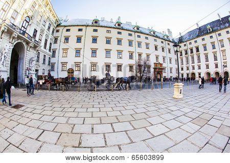 People Visit The Inner Hofburh In Vienna