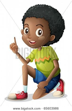 Illustration of a cute young Black man on a white background