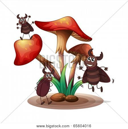 Illustration of the cockroaches playing with the mushroom plant on a white background