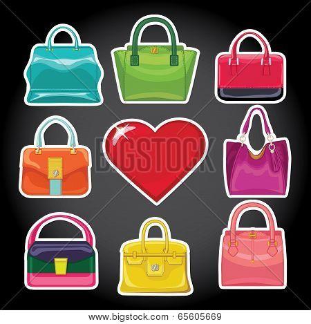 Multi-coloured Fashion Women's Handbag And Red Heart