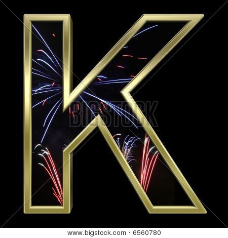 Gold letter with firework motive