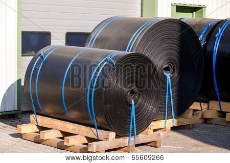 Rolls Of Black Industrial Plastic