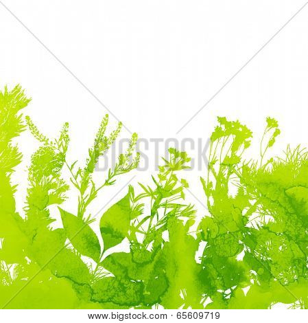Green Floral Summer Background, Watercolor Texture