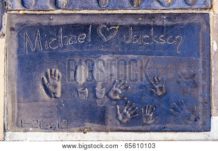 Michael Jacksons Handprints In Hollywood Boulevard