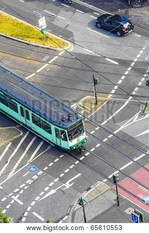 Aerial Of Bonn With Streetcar Lines And Pedestrians