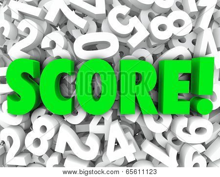 Score word background 3d numbers your rank, rating, grade