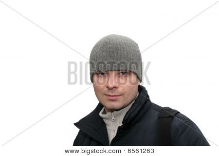 Man Poses In Winter Clothes