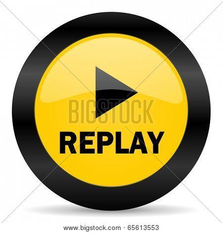 replay black yellow web icon
