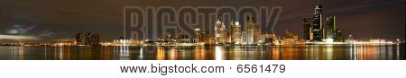 Wide Night Panorama of Detroit Skyline from Windsor, Ontario