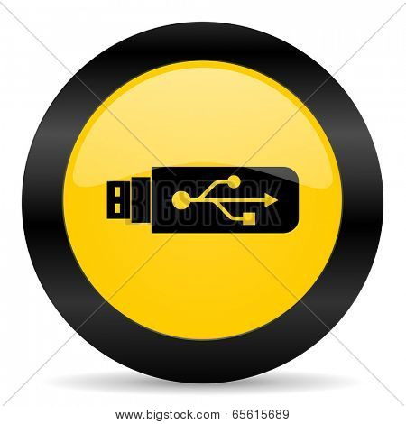 usb black yellow web icon