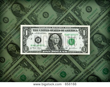 American Dollar On Bill Background