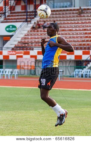 Sisaket Thailand-may 24: Etoundi Pie Claude Of Sisaket Utd. In Action During A Training Ahead The Re