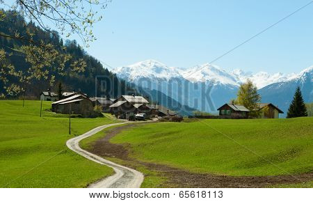 Small farm in Swiss alps (near Leukerbad).  Bodmen, Valais, Switzerland