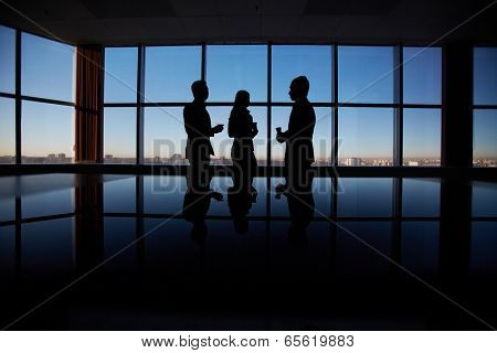 Outlines of group of white collar workers interacting by the window in office