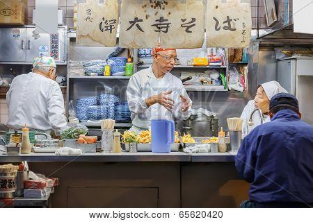 Food Stall at Tsukiji Fish Market in Tokyo