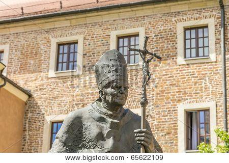 Statue Of Pope John Paul Ii On Wawel In Krakow