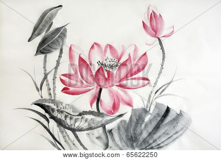 Watercolor Painting Of Big Lotus Flower