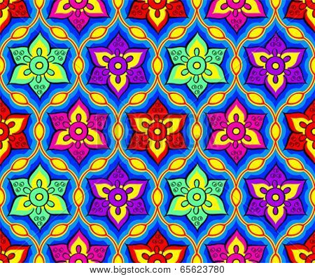 Seamless bright festival indian Rangoli pattern