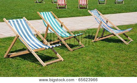 Deckchairs in park, Stratford-upon-Avon.