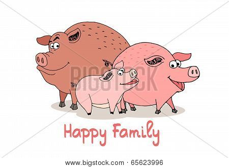 Happy Family of fun cartoon pigs