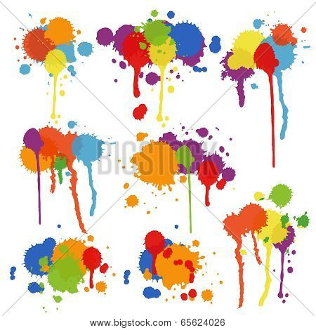 Set of multicolored stains and blots