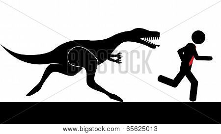 Man run from dinosaur