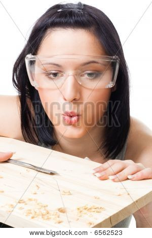 Woman Blow Away Scobs After Drilling
