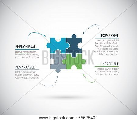 Business metaphors, four puzzle pieces connection. Jigsaw vector illustration.