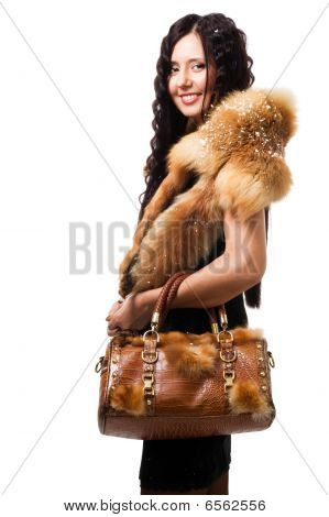 Woman Stand With Fur And Bag