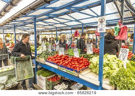 People Sell Their Goods At The Market Stary Kleparz In Krakow, Poland