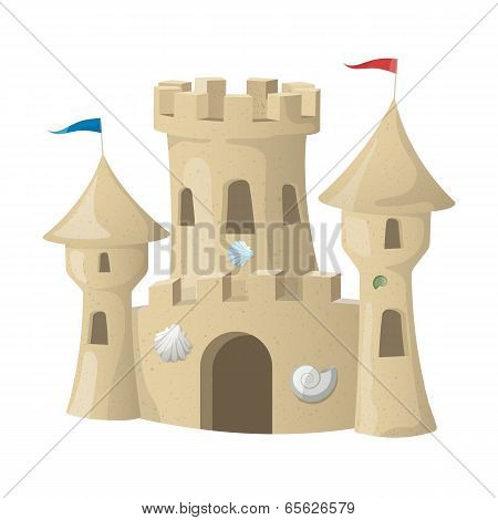 Sand Castle. Vector Illustration